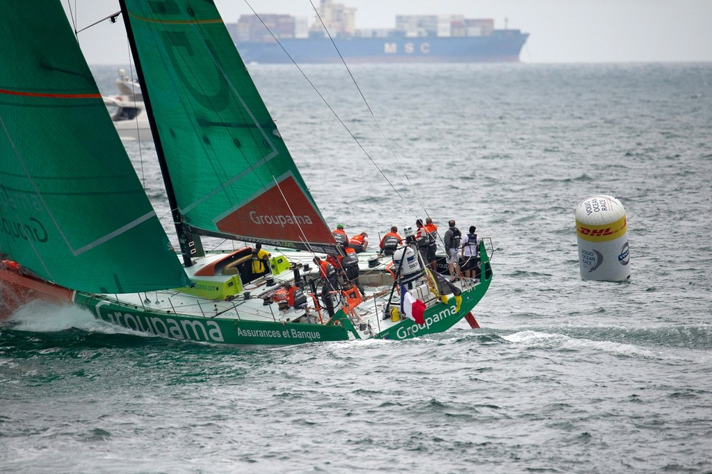 Groupama Sailing Team, skippered by Franck Cammas from France, round a mark, during the DHL In-Port Race Itajai, Brazil, in the Volvo Ocean Race 2011-12. (Credit: PAUL TODD/Volvo Ocean Race) © Paul Todd/Volvo Ocean Race http://www.volvooceanrace.com