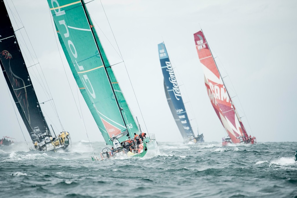 The fleet of Volvo Open 70's blast away from the start line of leg 6, from Itajai, Brazil, to Miami, USA, during the Volvo Ocean Race 2011-12. (Credit: PAUL TODD/Volvo Ocean Race) - photo © Paul Todd/Volvo Ocean Race http://www.volvooceanrace.com