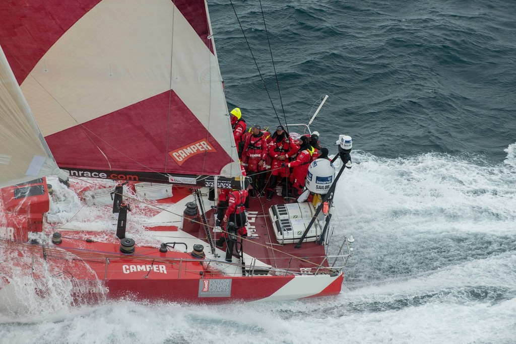 Camper with Emirates Team New Zealand in rough weather, on the approach to the finish of Leg 8 © Paul Todd/Volvo Ocean Race http://www.volvooceanrace.com