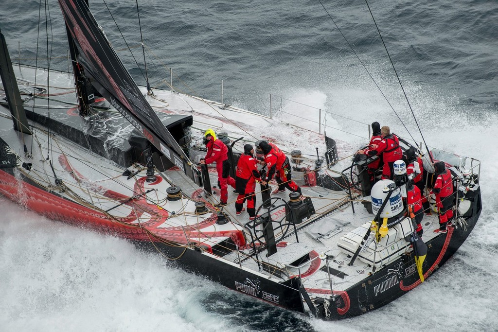 Puma Ocean Racing in tough seas, on the approach to the finish of leg 8, from Lisbon, Portugal, to Lorient, France, during the Volvo Ocean Race 2011-12.  © Paul Todd/Volvo Ocean Race http://www.volvooceanrace.com