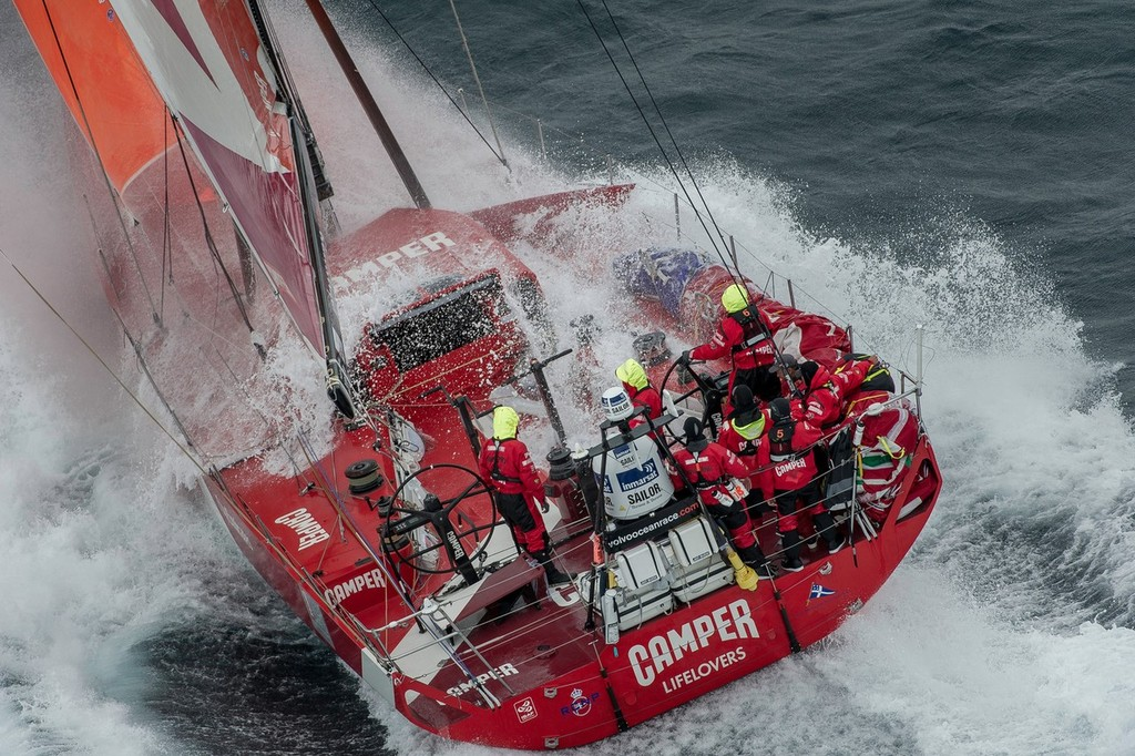 Camper with Emirates Team New Zealand, skippered by Chris Nicholson from Australia, in rough weather, on the approach to the finish of Leg 8 © Paul Todd/Volvo Ocean Race http://www.volvooceanrace.com