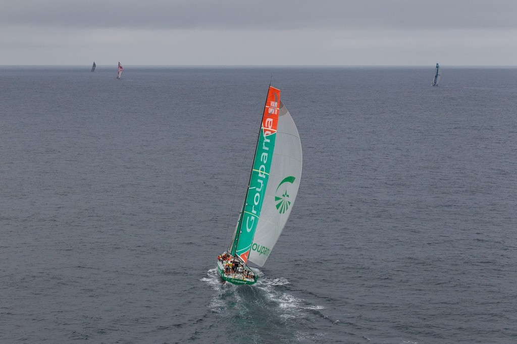 Groupama Sailing Team sailing up the Irish coast to the finish line, on leg 9 of the Volvo Ocean Race 2011-12, from Lorient, France to Galway, Ireland.  © Ian Roman/Volvo Ocean Race http://www.volvooceanrace.com