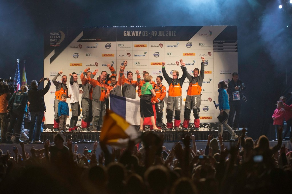 Groupama Sailing Team celebrate winning the Volvo Ocean Race 2011-12, after securing second place on leg 9 from Lorient, France to Galway, Ireland.  © Paul Todd/Volvo Ocean Race http://www.volvooceanrace.com