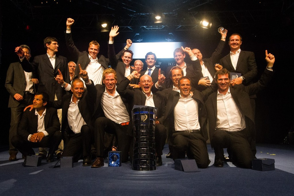 Groupama Sailing Team  are awarded first place for the Volvo Ocean Race 2011-12, at the Prize Giving Ceremony in Galway, Ireland, during the Volvo Ocean Race 2011-12.  © Ian Roman/Volvo Ocean Race http://www.volvooceanrace.com