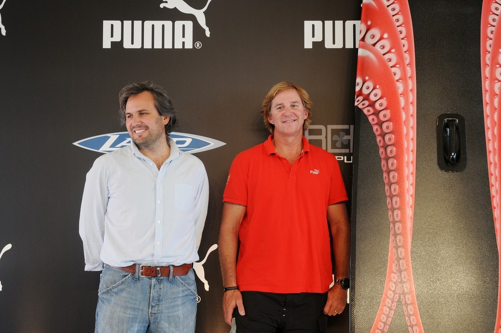 Skipper Ken Read and designer Juan Kouyoumdjian at the Puma Ocean Racing powered by Berg Propulsion kick-off press conference and unveiling of the new Juan K designed paddleboard, Newport, Road Island, USA, 28 June 2011.<br />  &copy; Volvo Ocean Race http://www.volvooceanrace.com