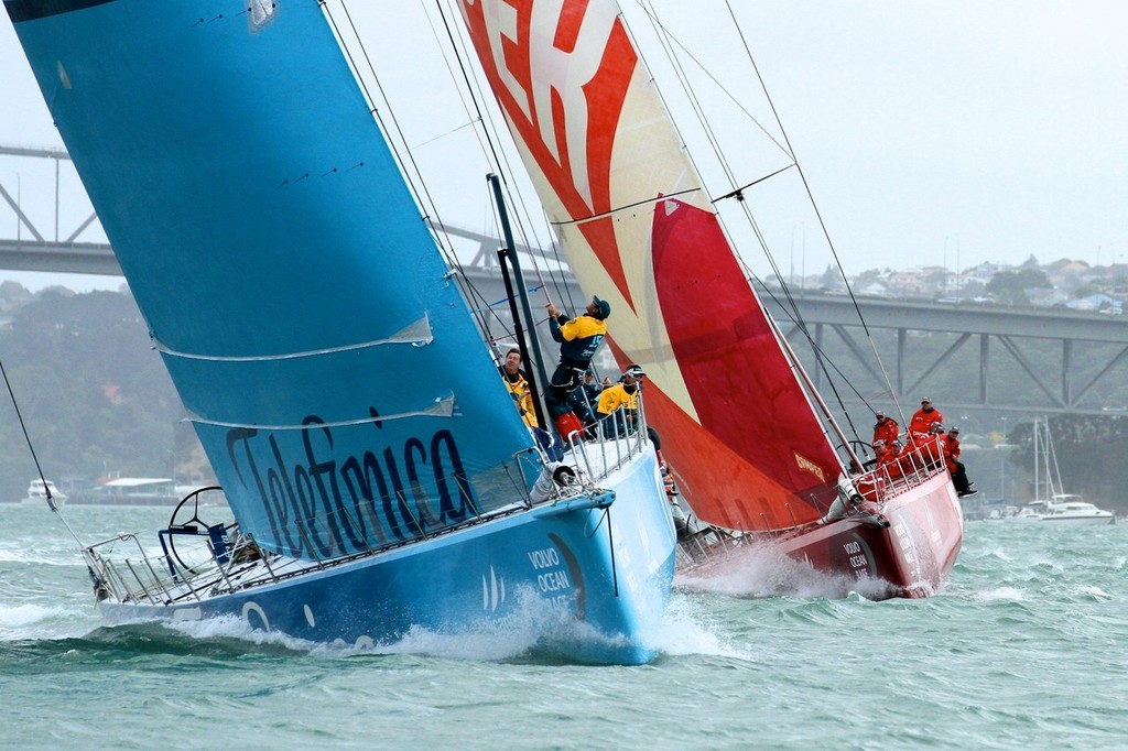 Overall race leader Telefonica is pursued by Camper after the first tack - Volvo Ocean Race Auckland - Start March 18,2012 © Richard Gladwell www.photosport.co.nz