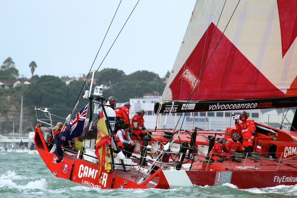 MCM Hamish Hooper catches the action aboard Camper - Volvo Ocean Race Auckland - Start March 18,2012 © Richard Gladwell www.photosport.co.nz