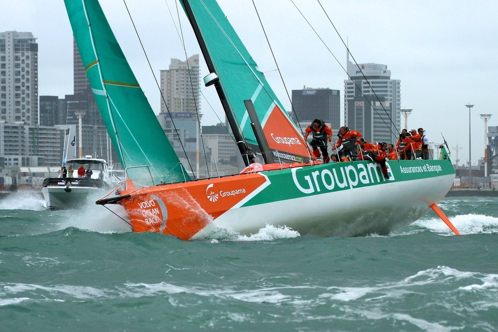 Groupama's crew move quickly as they head up the Waitemata in a freshening breeze for the final time - Volvo Ocean Race Auckland - Start March 18,2012 © Richard Gladwell www.photosport.co.nz
