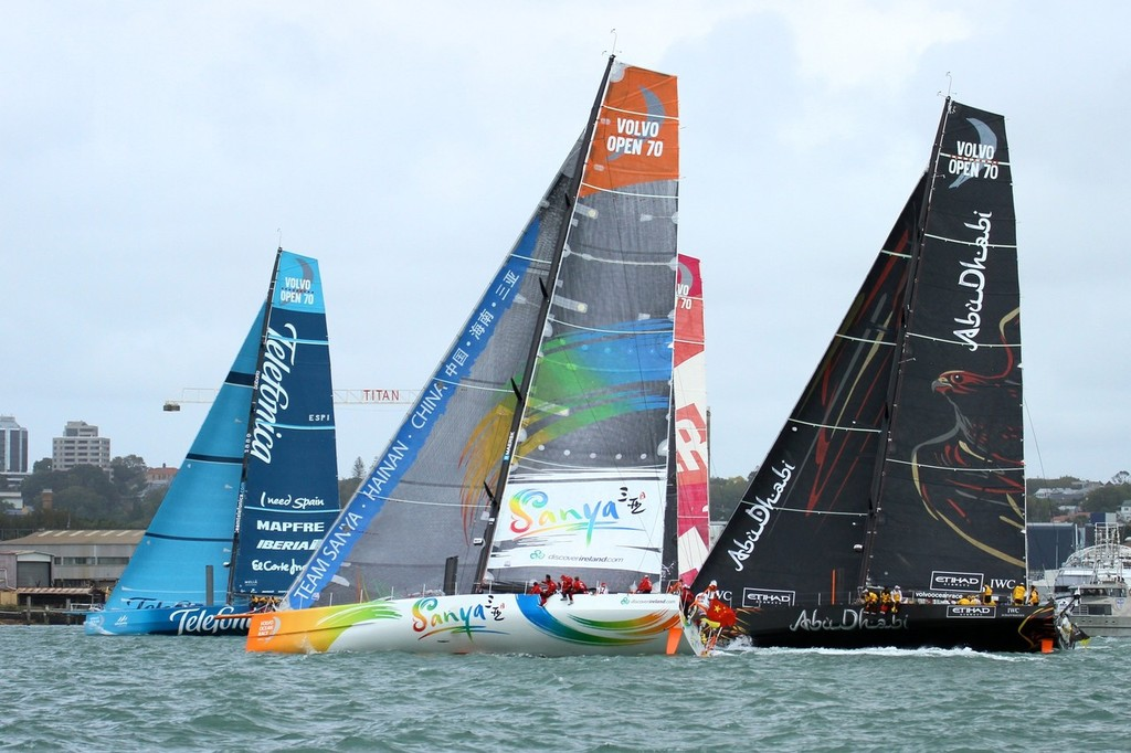 Four of the fleet get away from the start line, staying out of the flood tide - Volvo Ocean Race Auckland - Start March 18,2012 © Richard Gladwell www.photosport.co.nz