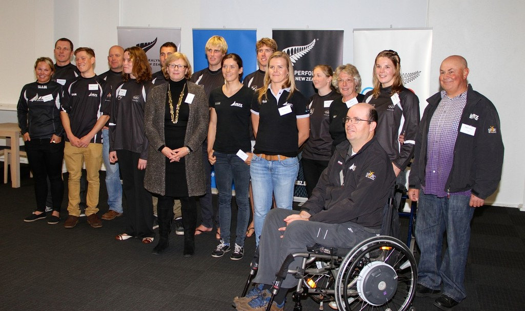 2012 NZ Olympic Yachting Team and Paralympic Team and coaches, with YNZ President Jan Dawson  - Farewell July 5, 2012 © Richard Gladwell www.photosport.co.nz