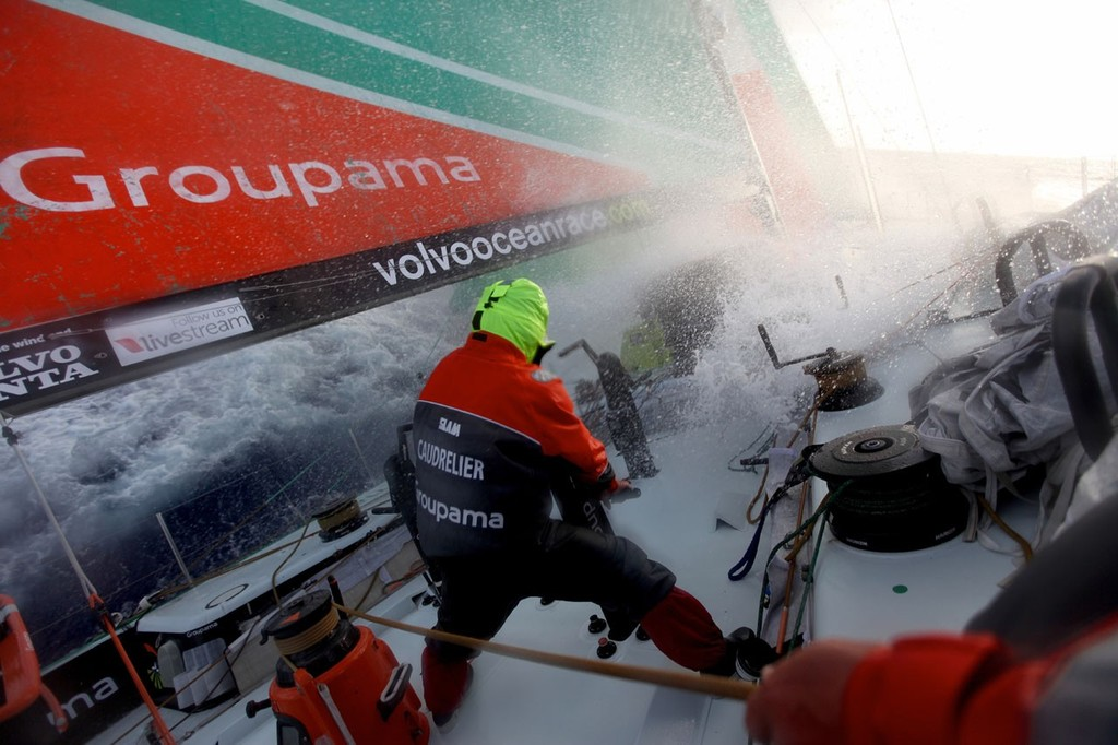 Wet atmosphere on board Groupama 4 - Volvo Ocean Race 2011-12 © Yann Riou/Groupama Sailing Team /Volvo Ocean Race http://www.cammas-groupama.com/