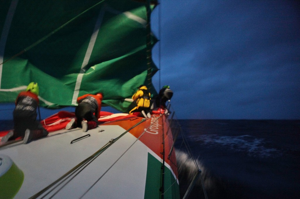 The crew is setting up the J4 onboard Groupama Sailing Team during leg 5 of the Volvo Ocean Race 2011-12 © Yann Riou/Groupama Sailing Team /Volvo Ocean Race http://www.cammas-groupama.com/