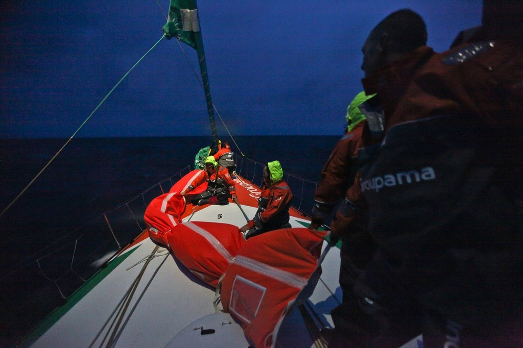 Setting up the J4 onboard Groupama Sailing Team during leg 5 of the Volvo Ocean Race 2011-12 © Yann Riou/Groupama Sailing Team /Volvo Ocean Race http://www.cammas-groupama.com/