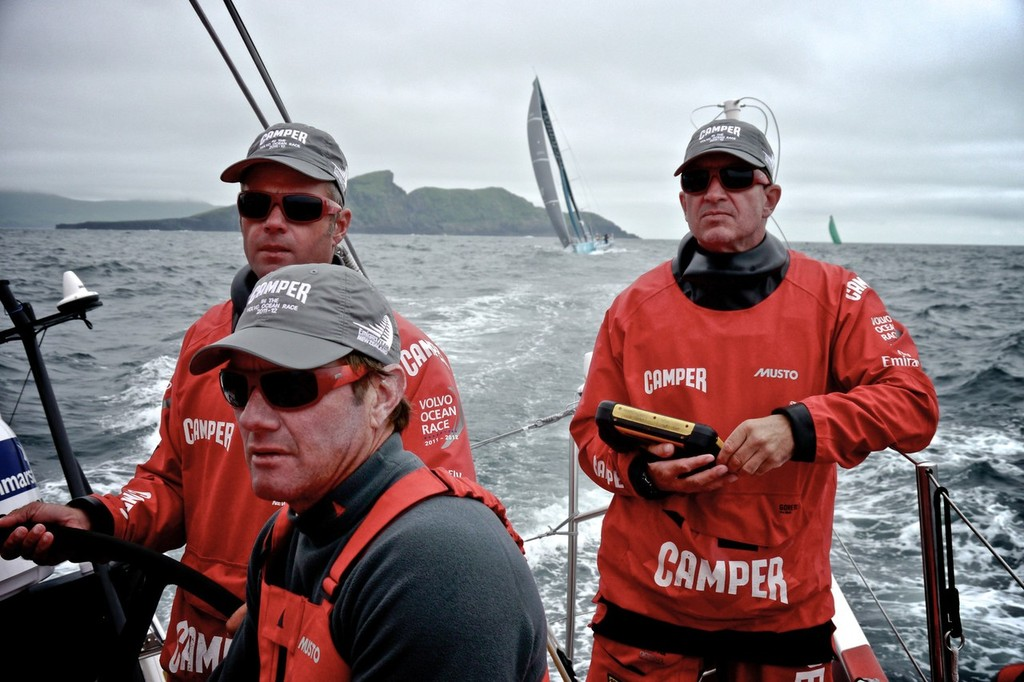 Skipper Chris Nicholson and Navigator Will Oxley and Tony Rae with Telefonica and Groupama close behind onboard Camper with Emirates Team New Zealand during leg 9 of the Volvo Ocean Race 2011-12, from Lorient, France to Galway, Ireland.  © Hamish Hooper/Camper ETNZ/Volvo Ocean Race