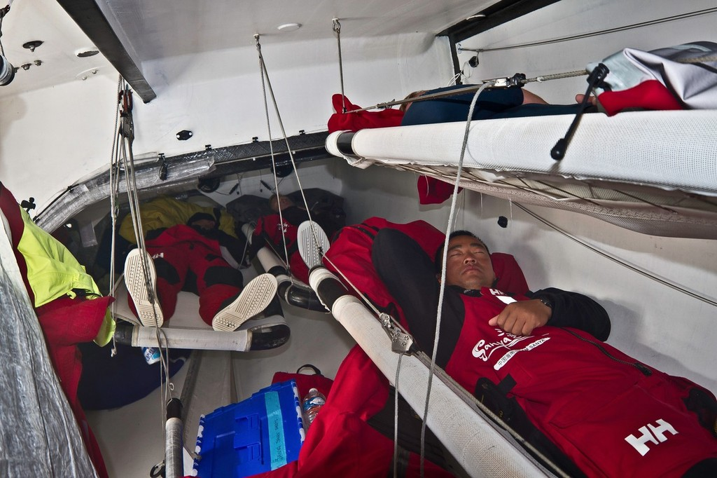 Last sleep below deck onboard Team Sanya during leg 9 of the Volvo Ocean Race 2011-12, from Lorient, France to Galway, Ireland.  © Andrés Soriano/Team Sanya/Volvo