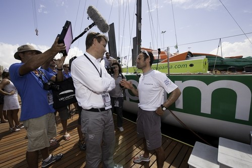 Groupama Sailing Team, skipper Franck Cammas from France, is interviewed with Volvo Ocean Race CEO, Knut Frostad, on the dock after finishing leg 5 of the Volvo Ocean Race 2011-12, from Auckland, New Zealand to Itajai, Brazil.  © Paul Todd/Volvo Ocean Race http://www.volvooceanrace.com