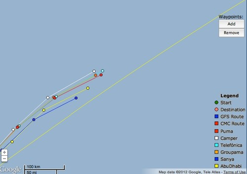 At 1900hrs UTC on June 13, 2012 the Volvo Ocean Race fleet are tightly grouped © PredictWind.com www.predictwind.com
