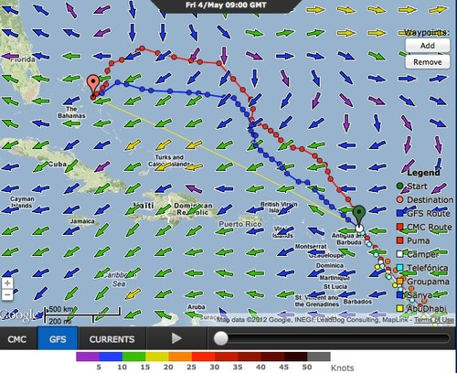 Leg 6, 0900hrs 4 May 2012, Volvo Ocean Race © PredictWind.com www.predictwind.com