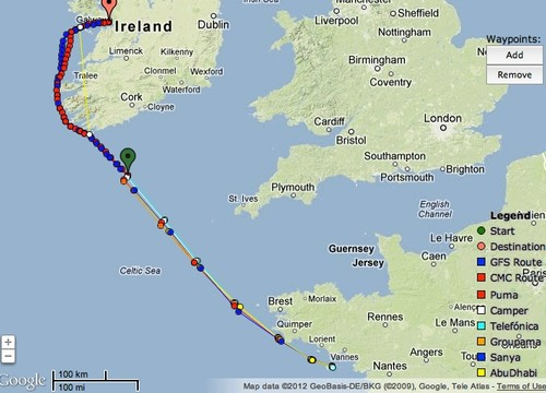 High level view of placings and predicted track to Galway at 0700hrs July 2, 2012 UTC - Leg 9, Volvo Ocean Race © PredictWind.com www.predictwind.com