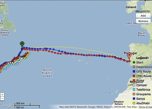 Predictwind currently is recommending a route for Sanya to turn east for Lisbon - based on the current weather at at 0900 UTC on May 27, 2102 © PredictWind.com www.predictwind.com