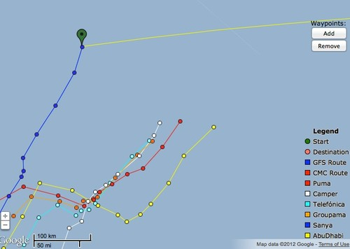 At 0900UTC, the fleet positions have straightened, as all boats head north - Volvo Ocean race May 27, 2012 © PredictWind.com www.predictwind.com