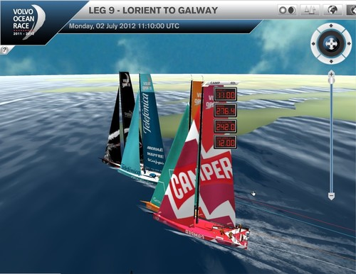 The lead four boats round Land's End at the SW corner of England and head for Galway Bay, Ireland © Virtual Eye/Volvo Ocean Race http://www.virtualeye.tv/