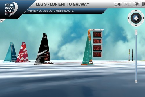 Virtual Eye positions at 0700UTC - Telefonica had a small lead with Camper to leeward with Puma and Groupama to seward (right) Abu Dhabi and Team Sanya are astern. © Virtual Eye/Volvo Ocean Race http://www.virtualeye.tv/