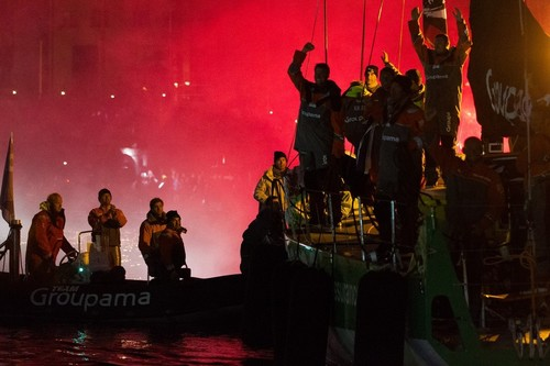 Groupama Sailing Team, skippered by Franck Cammas from France, celebrate winning the Volvo Ocean Race 2011-12, after finishing leg 9 from Lorient, France to Galway, Ireland.  © Ian Roman/Volvo Ocean Race http://www.volvooceanrace.com