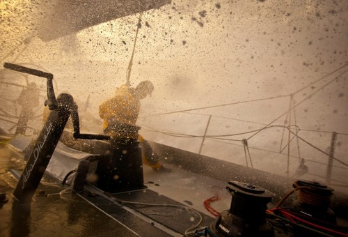 Stuck in an apocalyptic cloud, onboard Abu Dhabi Ocean Racing during leg 7 of the Volvo Ocean Race 2011-12, from Miami, USA to Lisbon, Portugal.  © Nick Dana/Abu Dhabi Ocean Racing /Volvo Ocean Race http://www.volvooceanrace.org