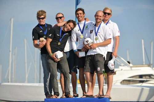 49er Worlds Podium from Lt to Rt ...  NZL-AUS-DEN © Nikola Sisko
