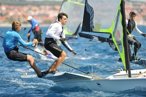 Marcus Hansen and Josh Probeski (NZL)were the best performed of the NZL competitors on the opening day of the sixth round of the ISAF World Cup at Weymouth. © Nikola Sisko