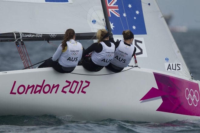 Olivia Price, Nina Curtis and Lucinda Whitty (AUS) competing in the London Olympics 2012. © onEdition http://www.onEdition.com