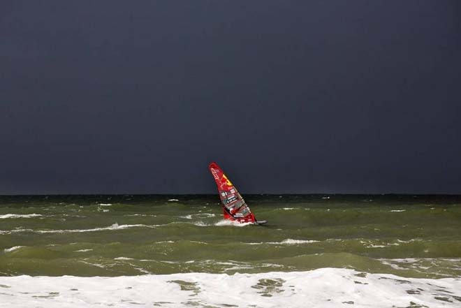 Bjorn tests the conditions - 2012 PWA Sylt World Cup ©  John Carter / PWA http://www.pwaworldtour.com