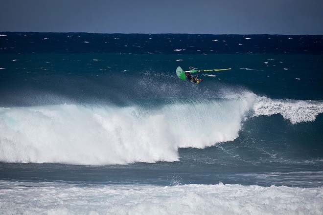 Bryan Metcalf Perez proving a point about his abilites to rip as a wave sailor, huge aerial - 2012 AWT Maui Makani Classic © American Windsurfing Tour http://americanwindsurfingtour.com/