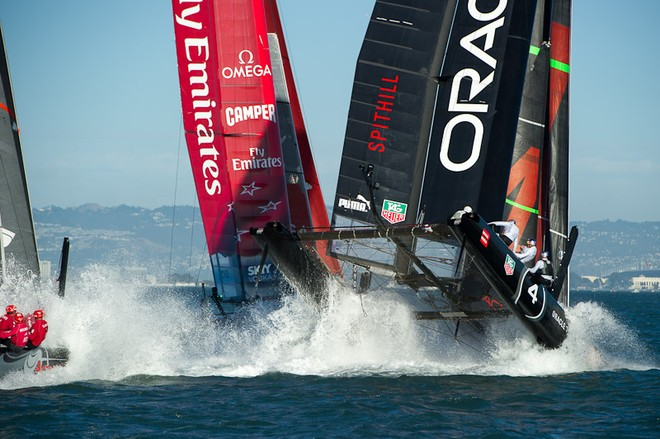 Oracle Team USA digs the bows in and capsizes at the first mark in the first fleet race of day four of the America's Cup World Series, San Francisco.  ©  SW