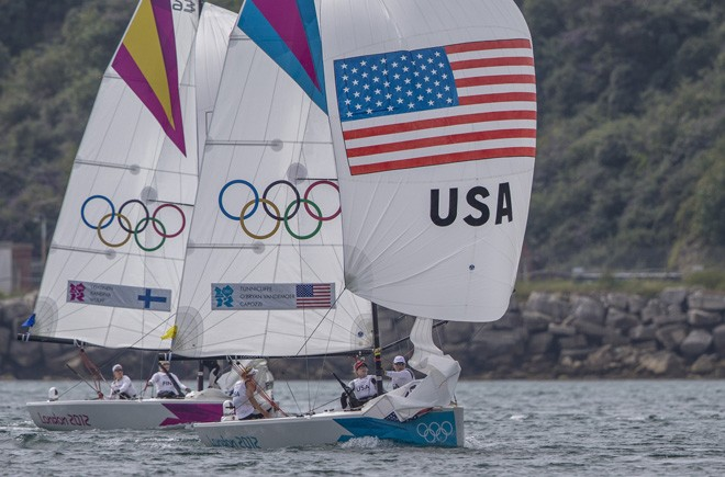 Anna Tunnicliffe, Debbie Capozzi and Molly O'Bryan Vandemoer (USA) competing in the Women's Match Racing event at the London Olympics 2012. © 2012 Daniel Forster/go4image.com http://www.go4image.com/