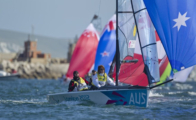 Daniel Fitzgibbon and Liesl Tesch on their way to gold in Weymouth  © onEdition http://www.onEdition.com