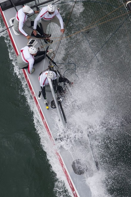 Luna Rossa in dive mode - San Francisco - Official Practice - America's Cup World Series © ACEA - Photo Gilles Martin-Raget http://photo.americascup.com/