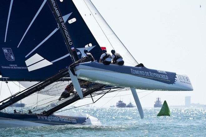 Groupe Edmond de Rothschild flies a hull during Act 3, Istanbul - Extreme Sailing Series 2012 ©  Vincent Curutchet / Dark Frame http://www.extremesailingseries.com/