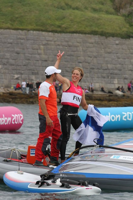 FIN Women's Windsurfing - London 2012 Olympic Sailing Competition © Ingrid Abery http://www.ingridabery.com