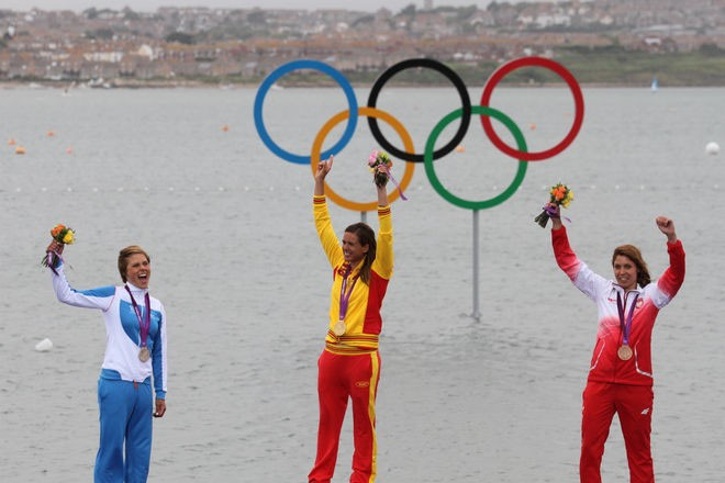 Women's RS:X Podium - London 2012 Olympic Sailing Competition © Ingrid Abery http://www.ingridabery.com