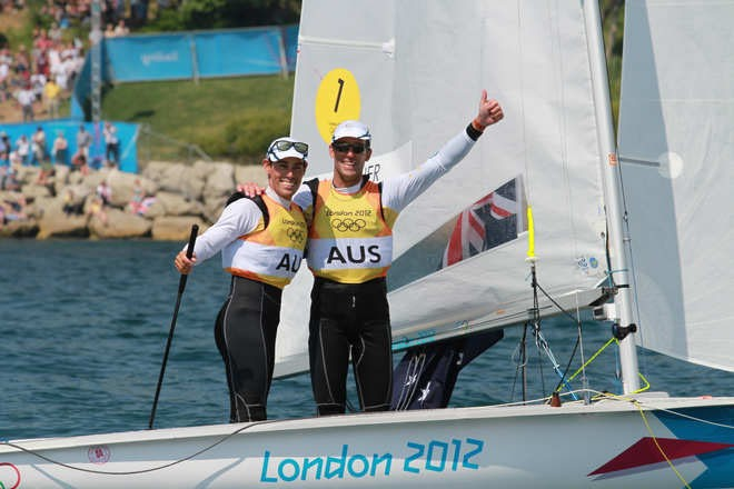 Mathew Belcher and Malcolm Page (AUS), Men's 470 Medal Race - London 2012 Olympic Sailing Competition © Ingrid Abery http://www.ingridabery.com