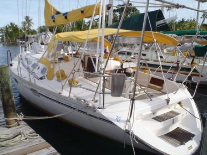 As she was - a happy-looking Jeanneau Sun Odyssey 44.  Her way to a watery grave began with her sale to new owners earlier this year in Panama ©  SW