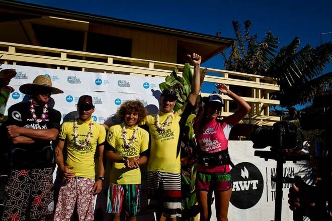 Pro Men on the podium; 4th Nat Gill, 3rd Camille Juban, 2nd Bernd Roediger, 1st Kevin Pritchard, Tour Director Sam Bittner - 2012 AWT Maui Makani Classic © American Windsurfing Tour http://americanwindsurfingtour.com/