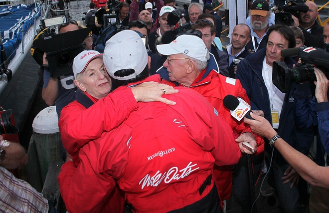 A big hug for 'Ricko' from Bob Oatley and Bob's wife Val - Rolex Sydney Hobart Race 2012 © Crosbie Lorimer http://www.crosbielorimer.com