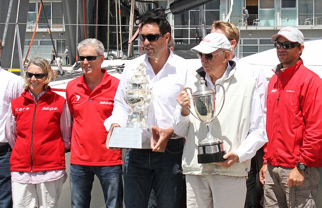 The winners of the Line Honours and overall handicap trophies - Rolex Sydney Hobart Race 2012 © Dale Lorimer