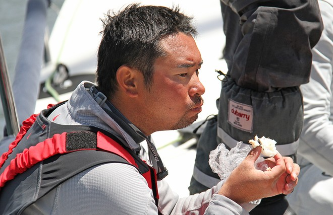 Fresh rice balls delivered at the dock for a hungry crew.  - Rolex Sydney Hobart 2012 © Dale Lorimer