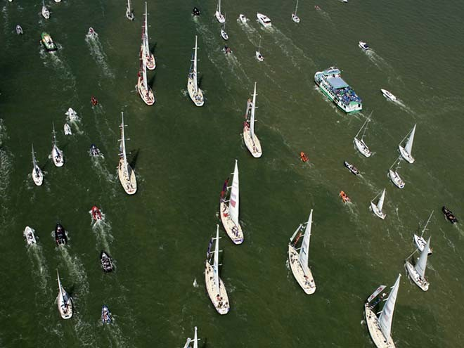 The homecoming fleet of all participating boats of The Clipper 11-12 Round the World Yacht Race. © onEdition http://www.onEdition.com