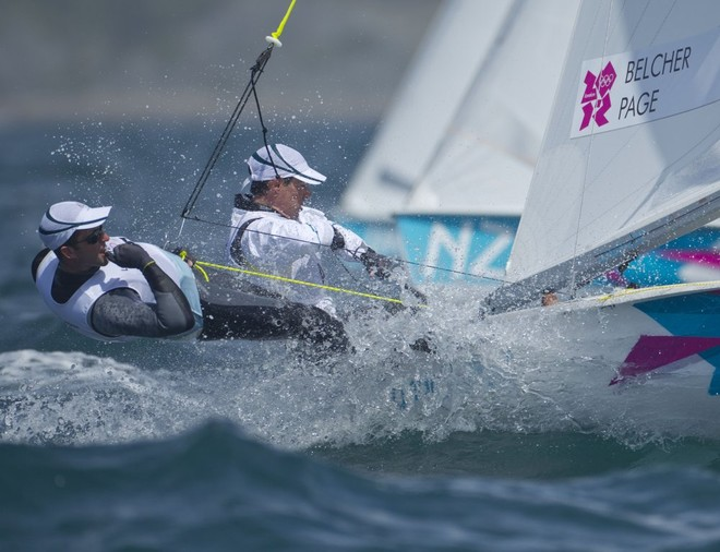 Mathew Belcher and Malcolm Page (AUS) competing in the Men's Two Person Dinghy (470) event in The London 2012 Olympic Sailing Competition. © onEdition http://www.onEdition.com