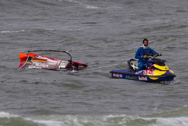 Terrible luck for Dunkerbeck - 2012 PWA Sylt World Cup ©  John Carter / PWA http://www.pwaworldtour.com